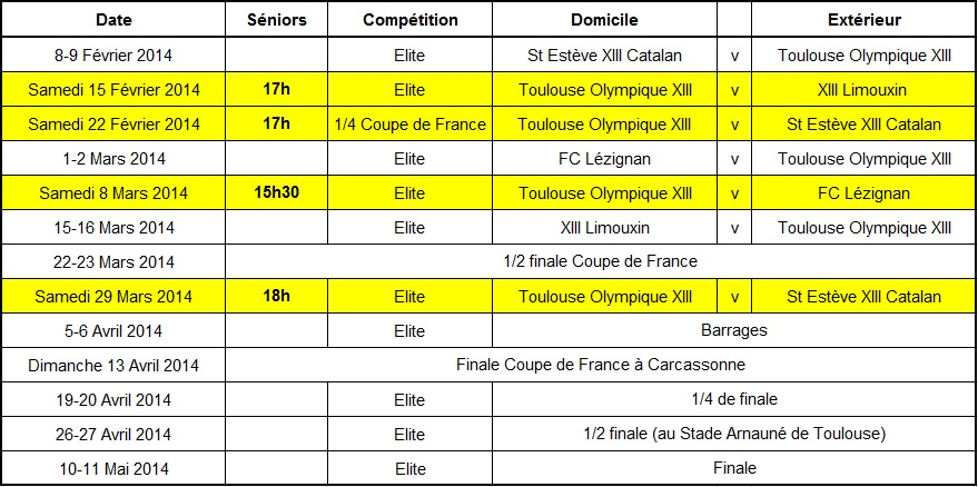 Calendrier TO 2ème phase