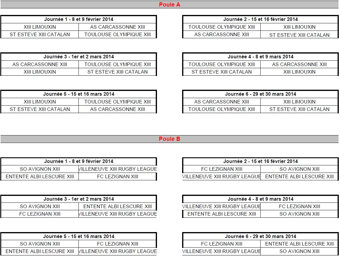Calendrier juniors 2013-14 2ème phase
