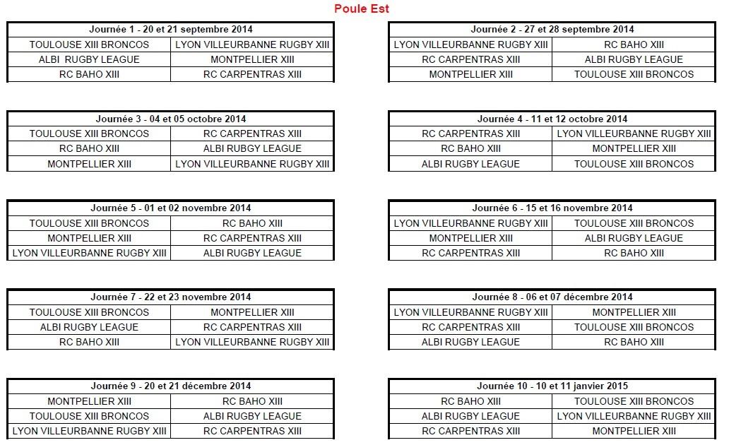 Calendrier 2014-2015 Elite 2 Est