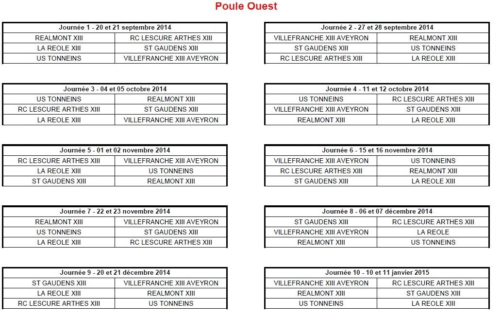Calendrier 2014-2015 Elite 2 Ouest