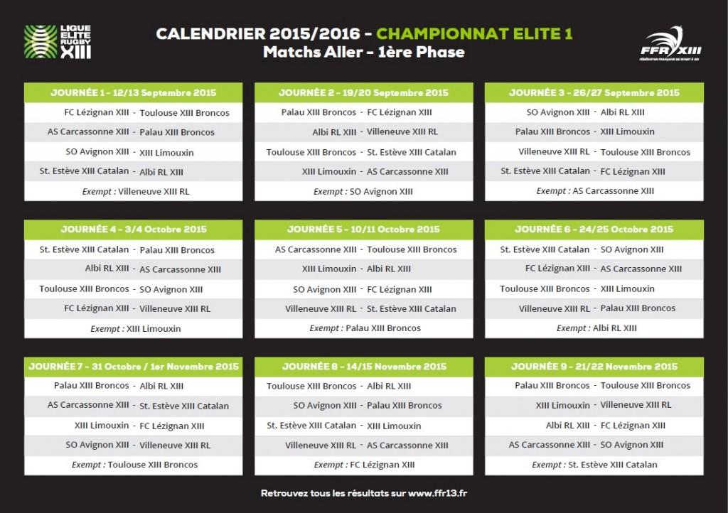 Calendrier Première phase Elite 1 2015/2016 ALLER