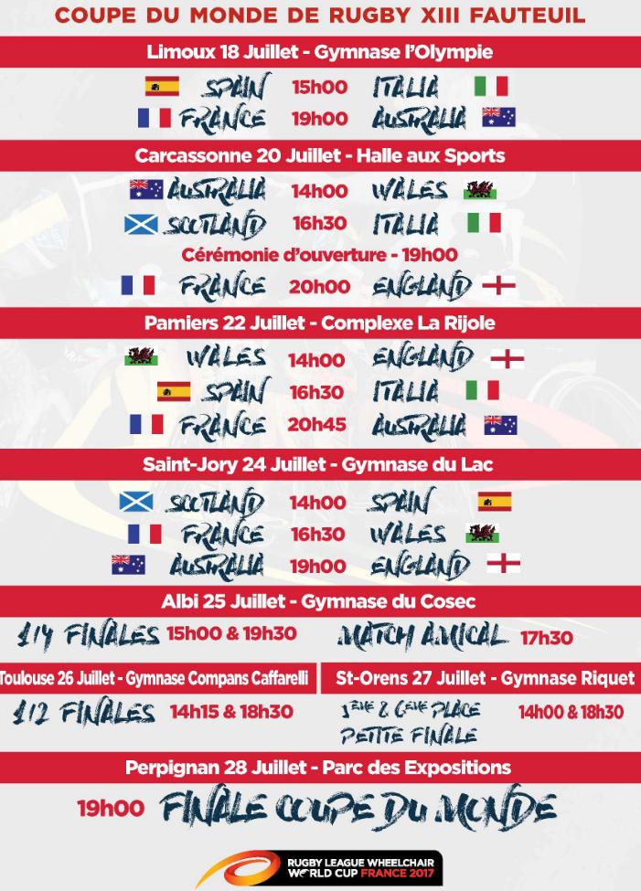 Coupe du monde de rugby xiii fauteuil du 18 au 28 juillet 2017 toulouse olympique xiii - Programme coupe de monde rugby ...